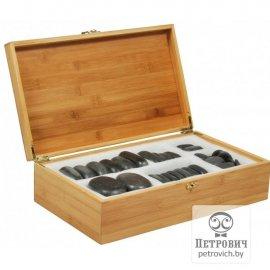 Набор массажных камней из базальта в коробке из бамбука (45 шт.)